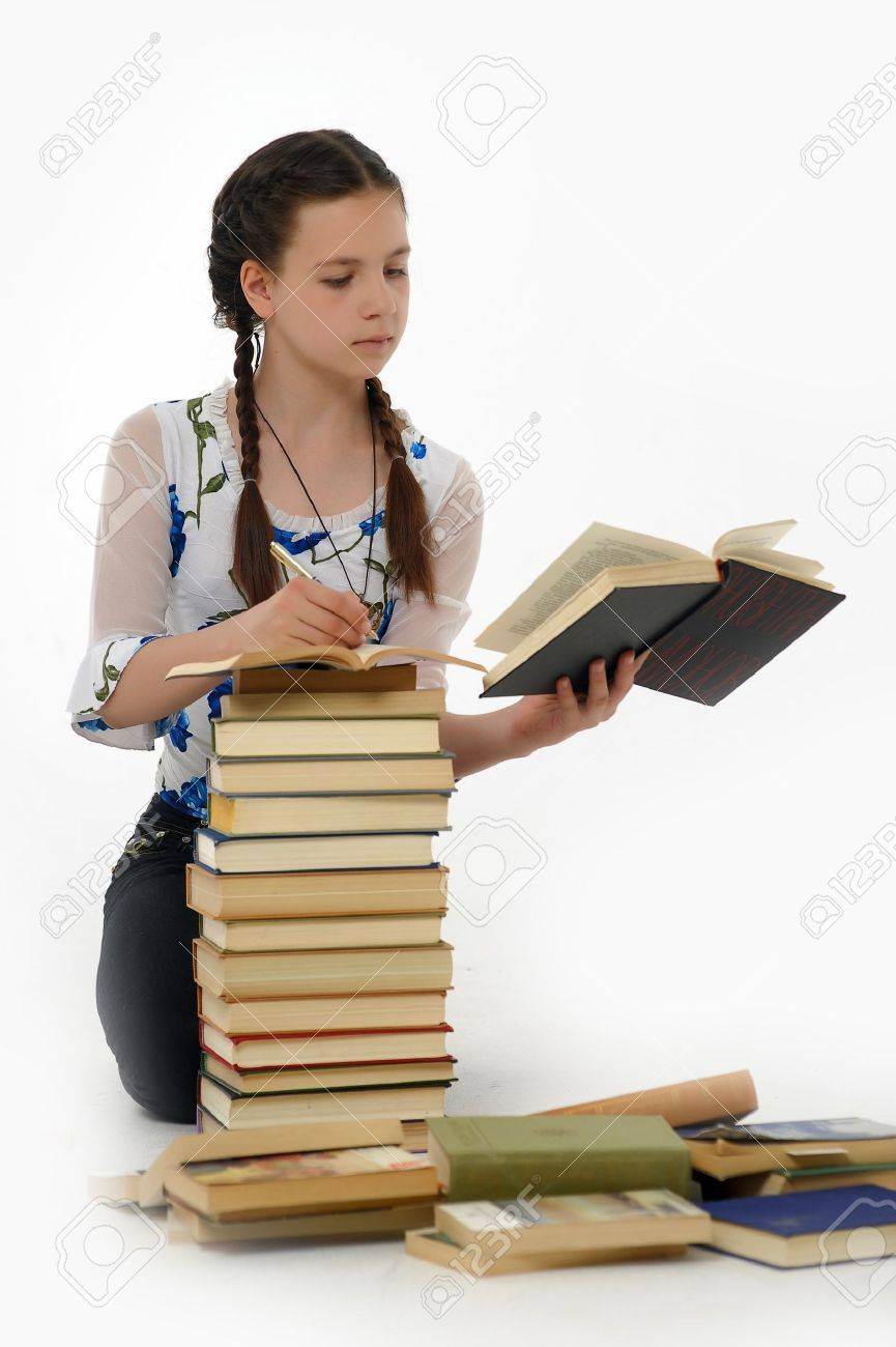 College student girl with books Stock Photo - 14999952