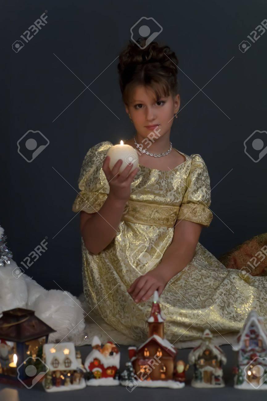 Girl with Christmas lanterns Stock Photo - 15126957