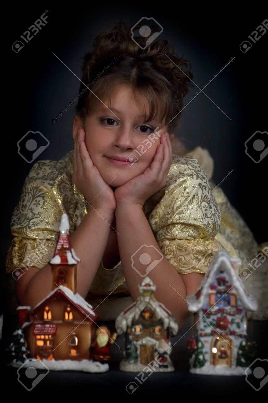 Girl with Christmas lanterns Stock Photo - 15144913