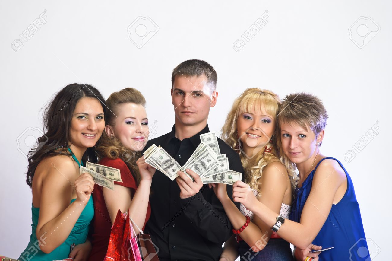 women with shopping bags take money from the man Stock Photo - 15145204