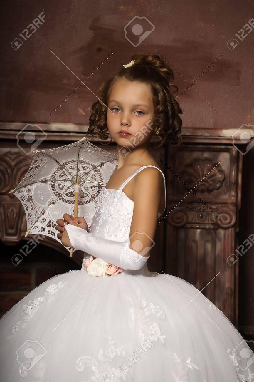 little princess retro with umbrella Stock Photo - 16572347