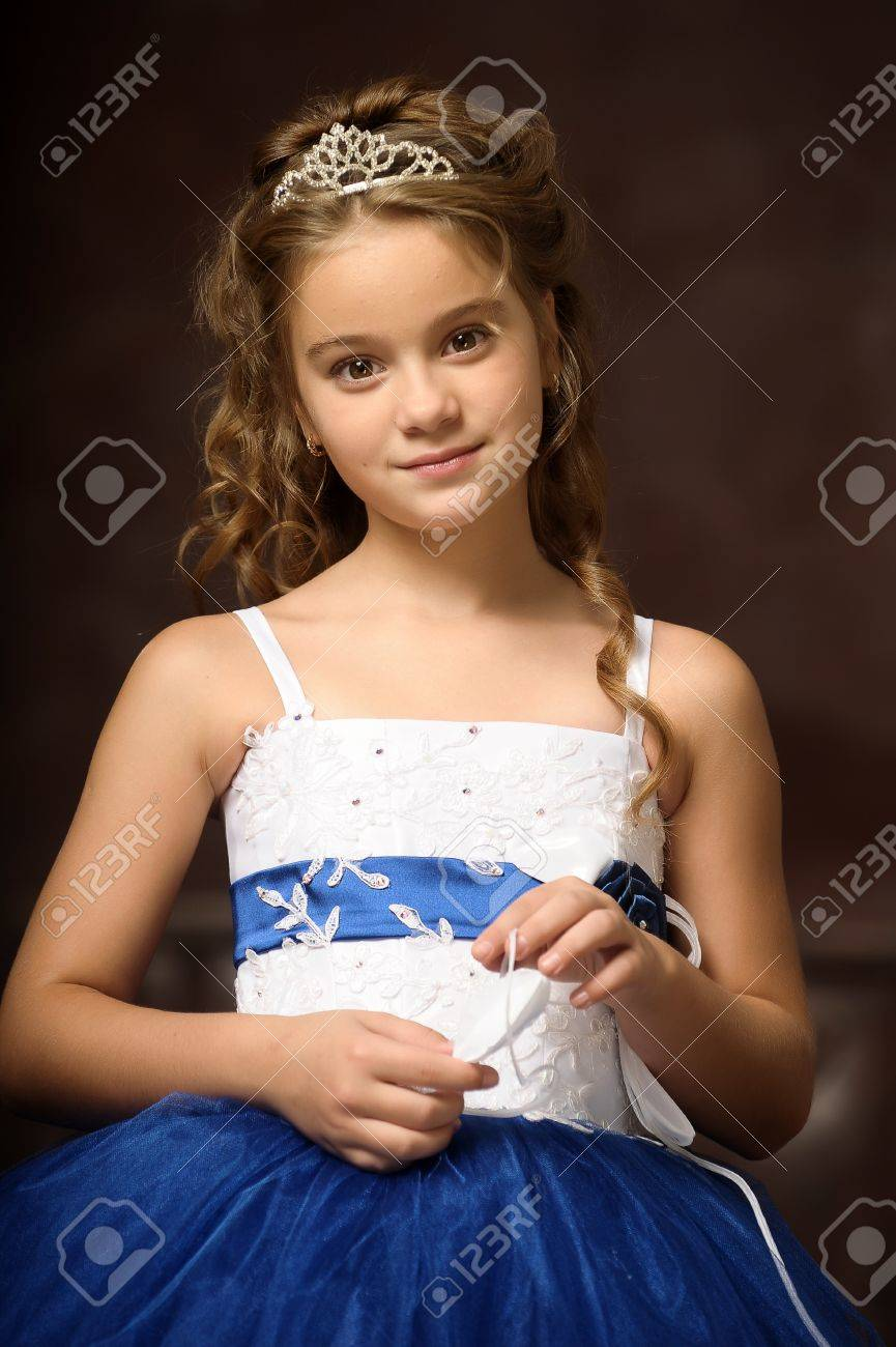 little princess in blue smart dress and tiara Stock Photo - 17370914