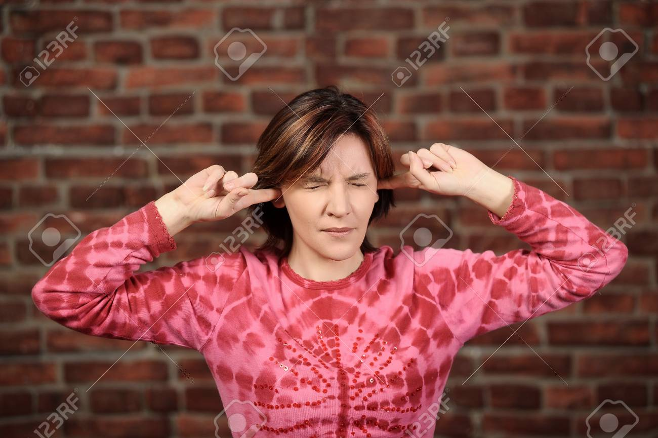 She doesn t want to hear anything Stock Photo - 16857071