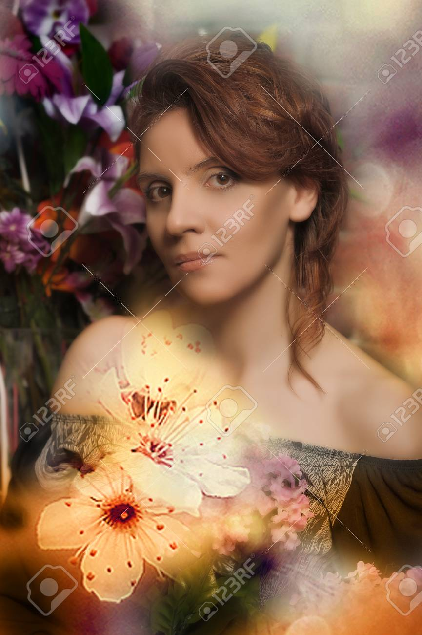 portrait of a young woman with flowers Stock Photo - 16857939