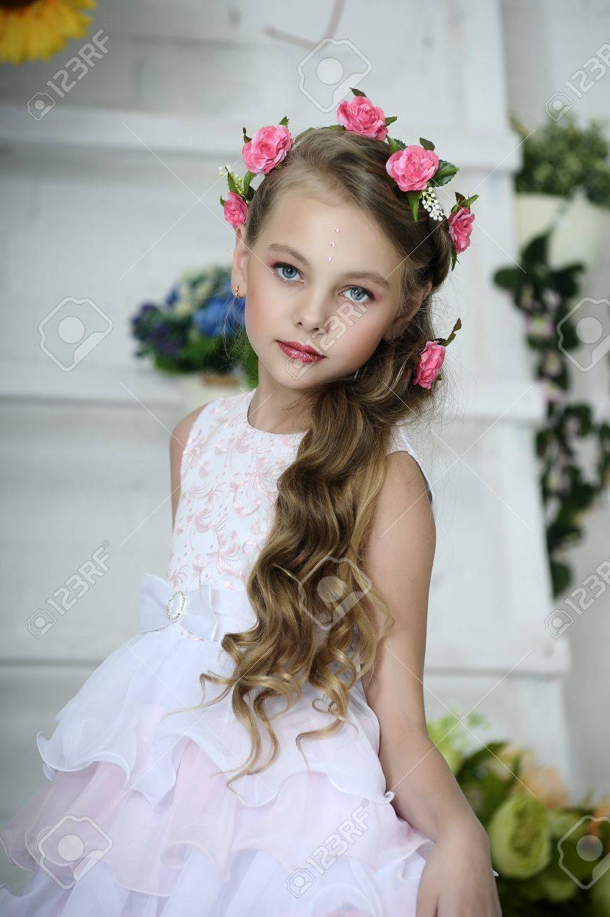 vintage girl with flowers stock photo, picture and royalty free