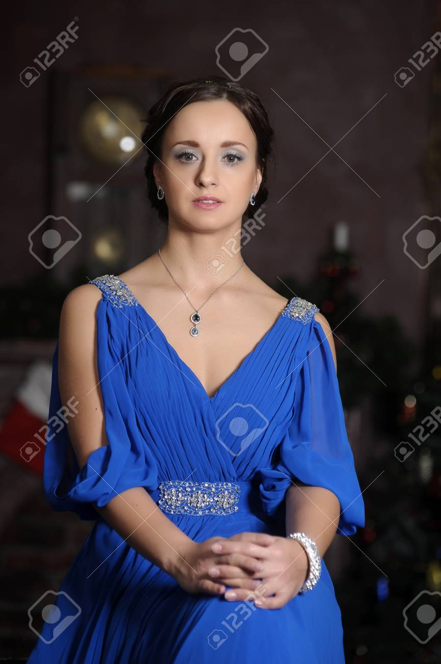 elegant woman in retro style in a blue dress Stock Photo - 18299659