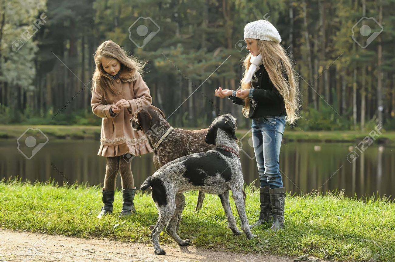 Two girls on a walk with the dogs Stock Photo - 17563036