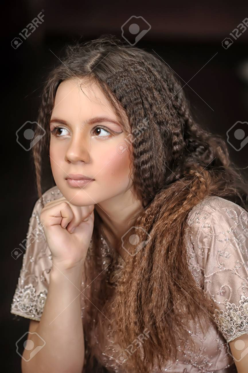portrait of a beautiful teenager girl with long hair Stock Photo - 19350802