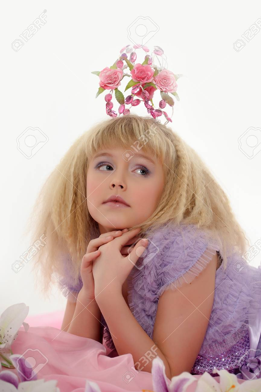 young princess wearing a crown of flowers Stock Photo - 18810474