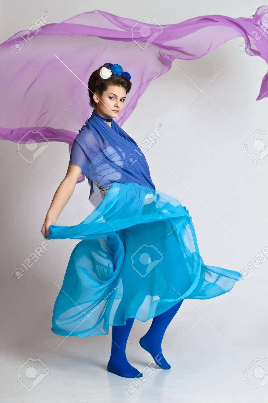 girl model posing in blue Stock Photo - 20018943