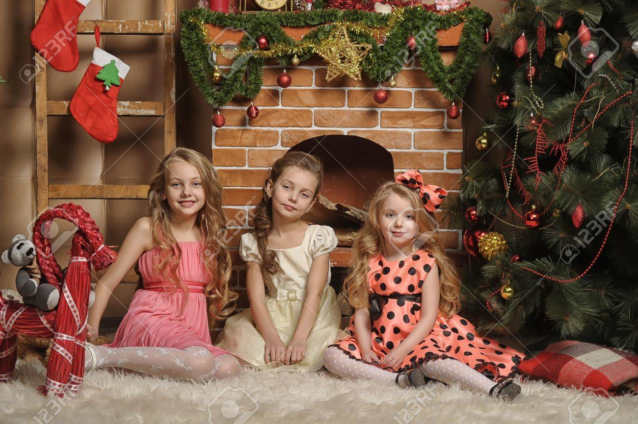 Three girls are ready for the celebration of the new year Stock Photo - 19581148