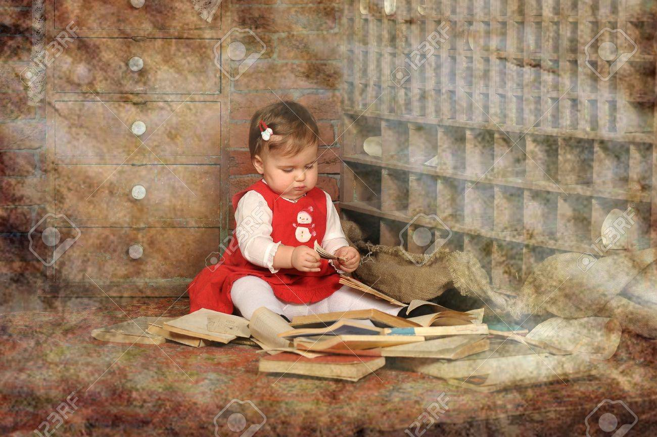 little girl surrounded by books Stock Photo - 19248824