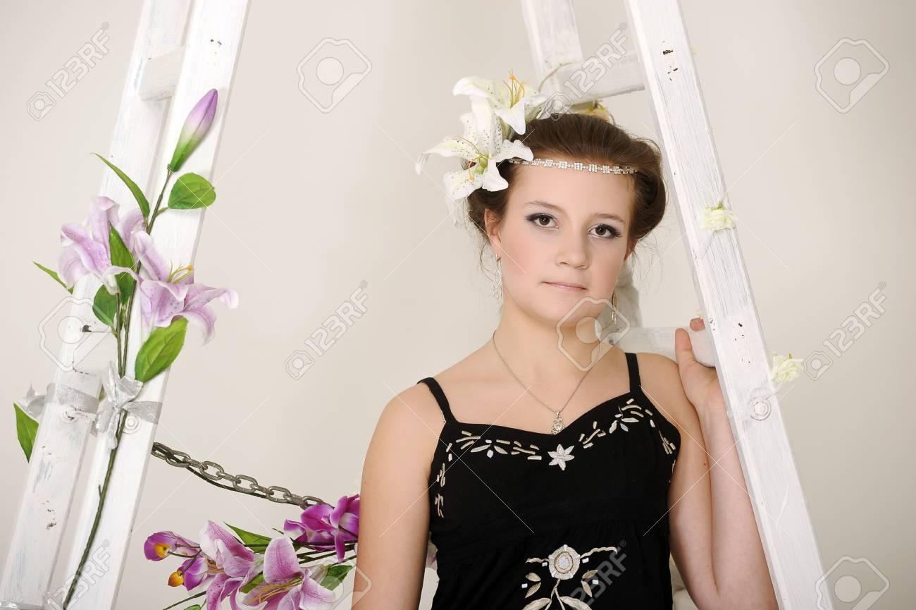 teen girl hairstyle vintage Stock Photo - 19584213