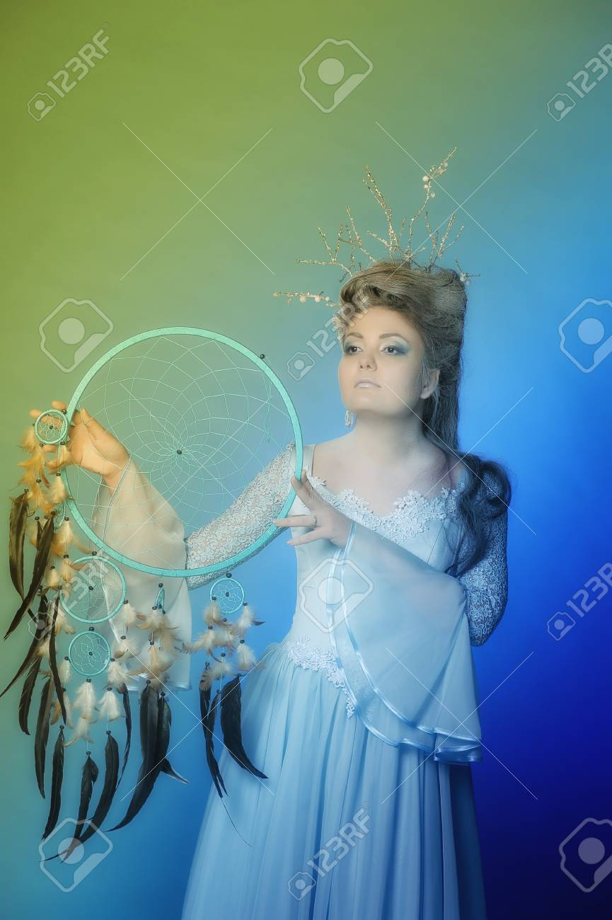 The woman with a trap for dreams Stock Photo - 19342167