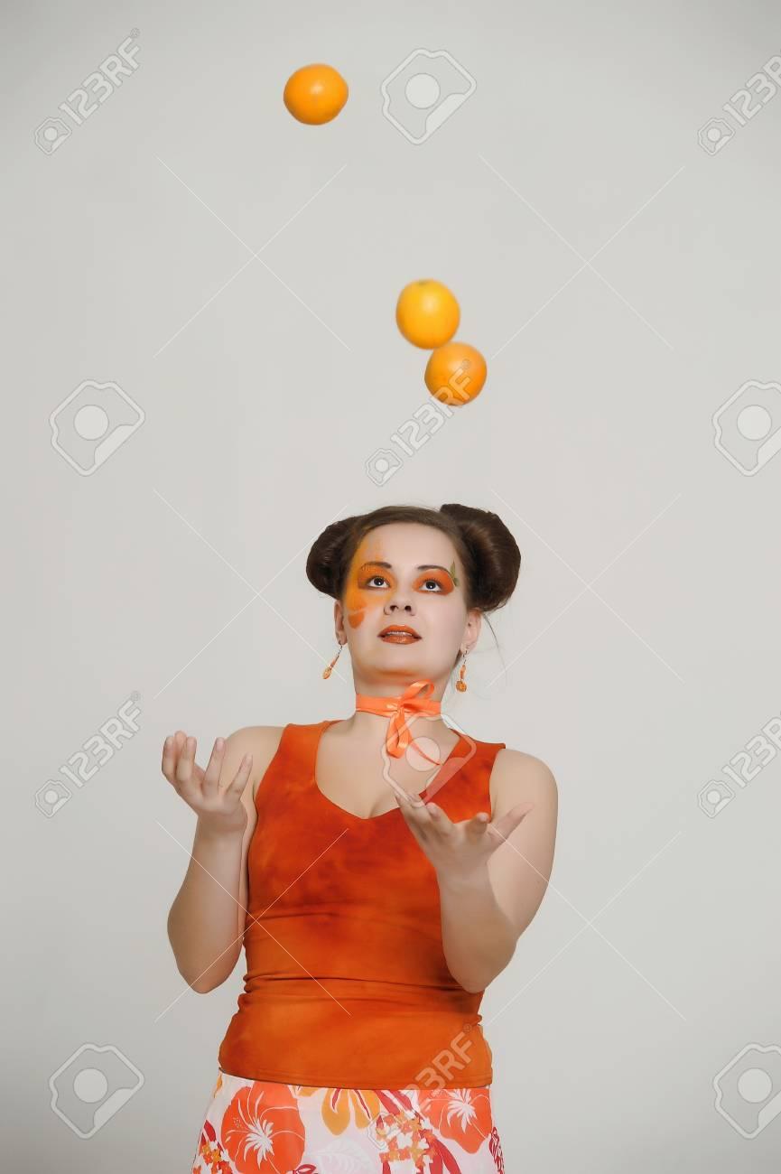 girl with oranges Stock Photo - 21046853