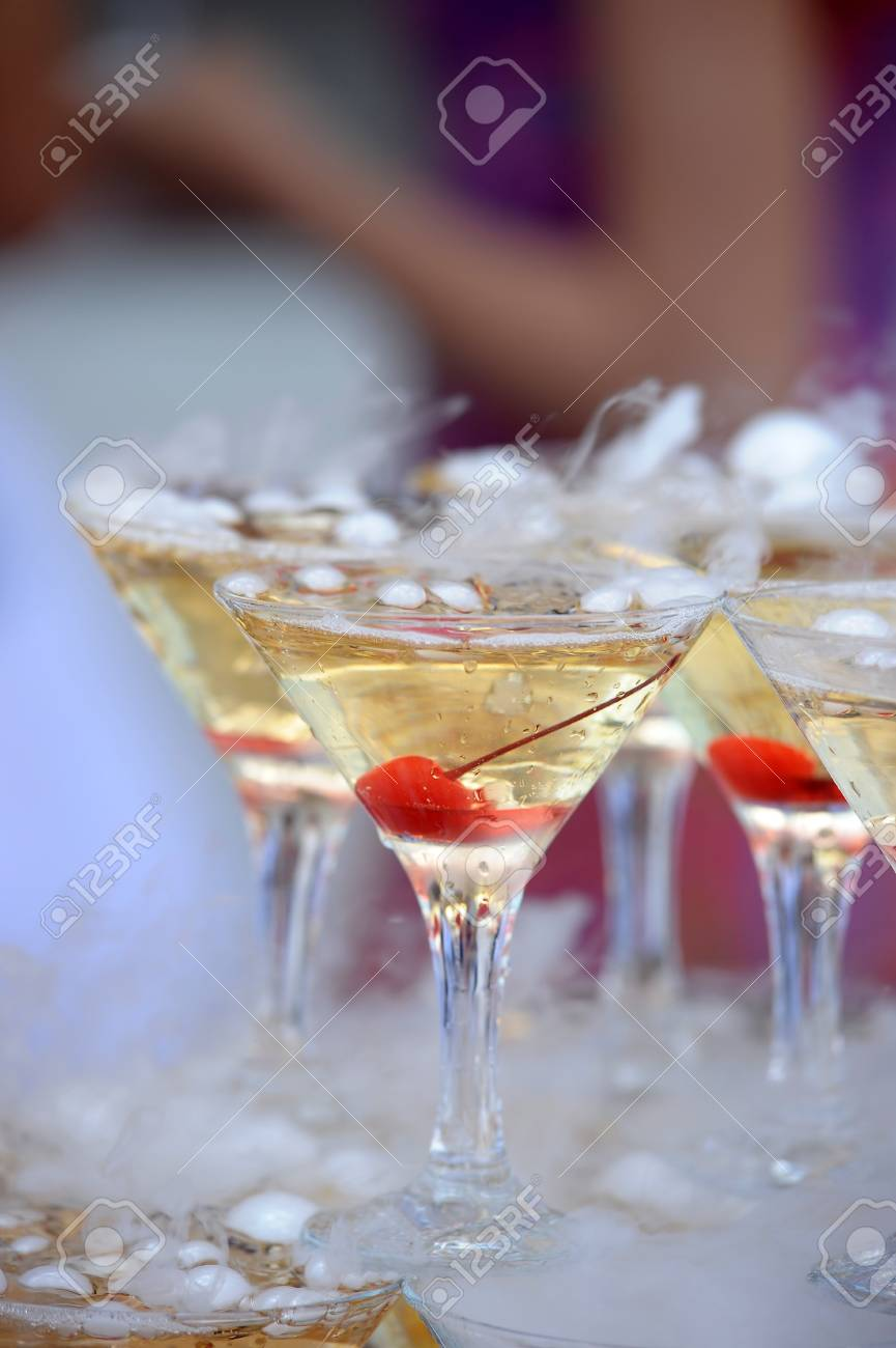 Champagne glasses in a pyramid Stock Photo - 21478350