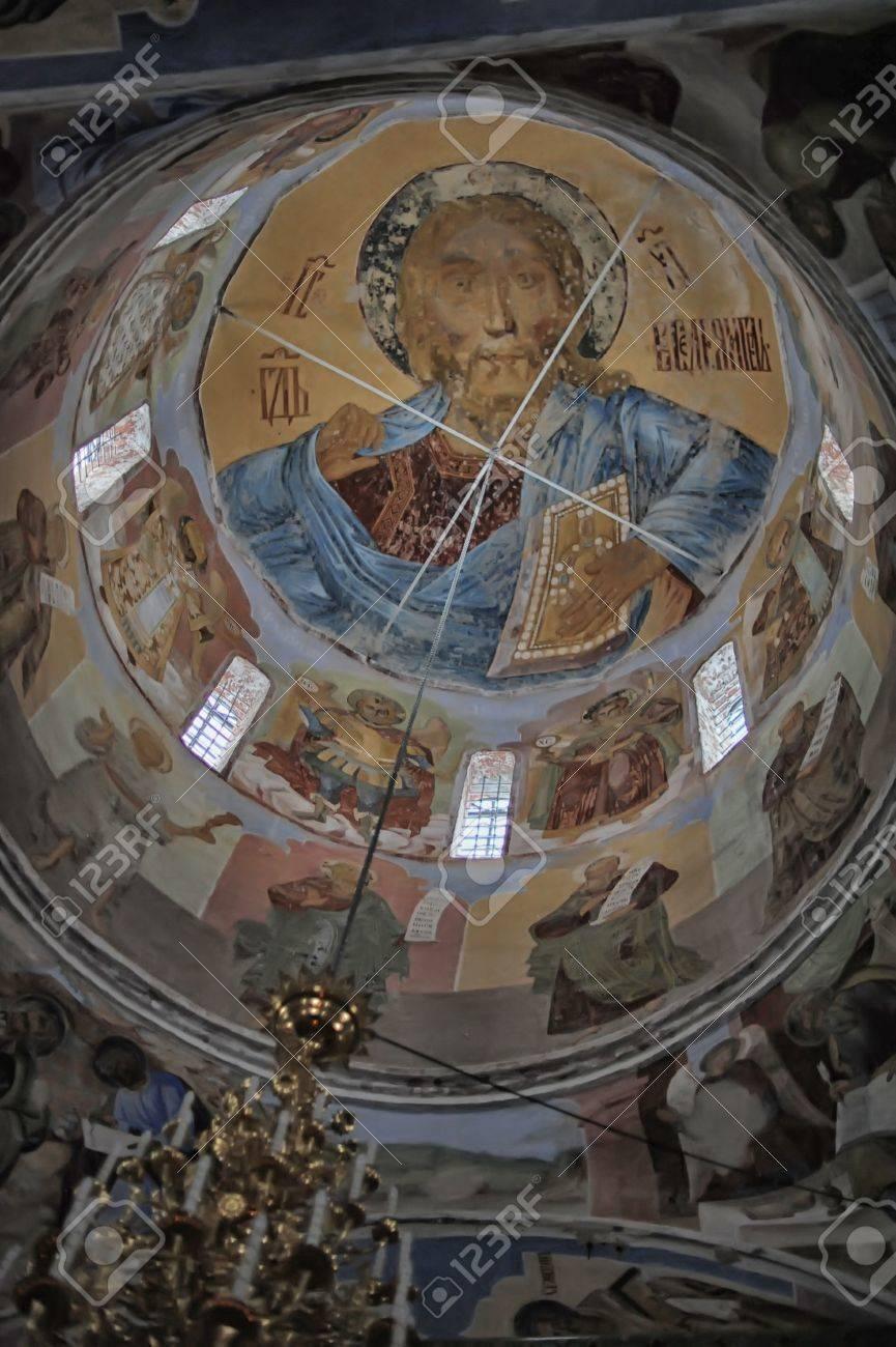 self-healing unrestored fresco of the Trinity Cathedral of Alexander Svirsky Monastery Stock Photo - 21755160