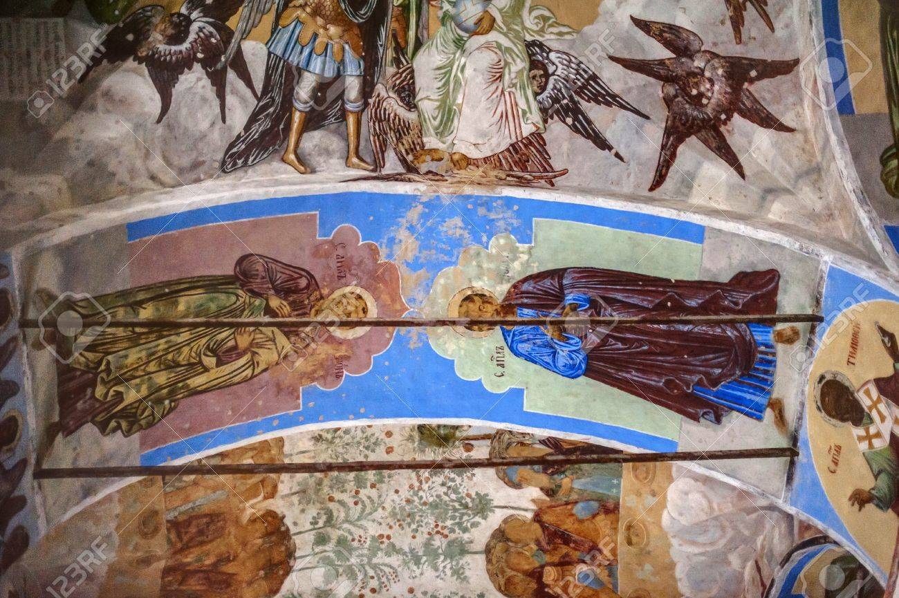 self-healing unrestored fresco of the Trinity Cathedral of Alexander Svirsky Monastery Stock Photo - 21755190