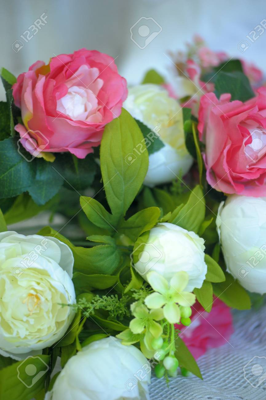 Pink And White Peonies Bouquet Background Stock Photo Picture And