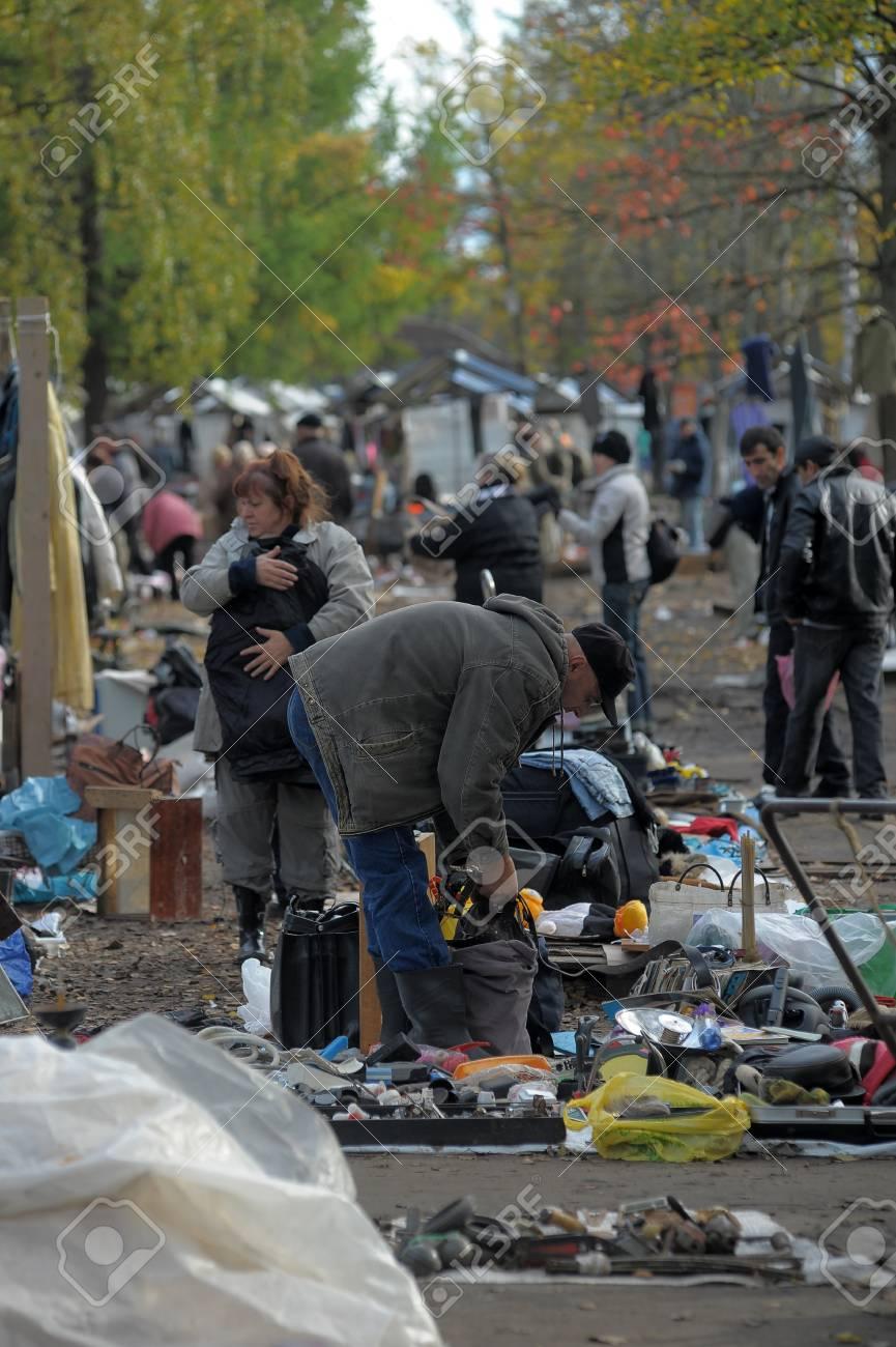 Flea market in a vacant lot, Russia Stock Photo - 25293930