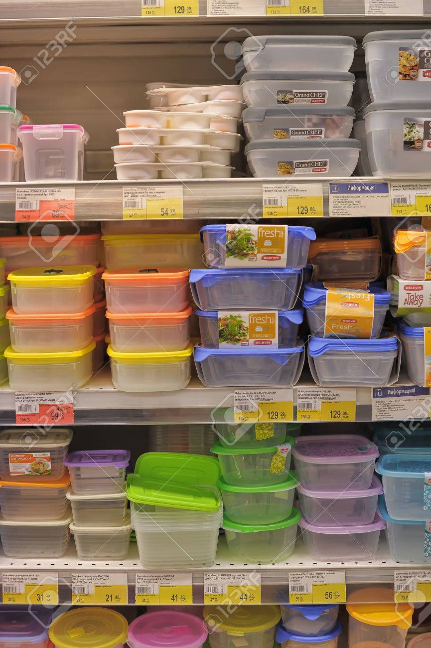 Empty Plastic Containers On The Supermarket Shelf Stock Photo