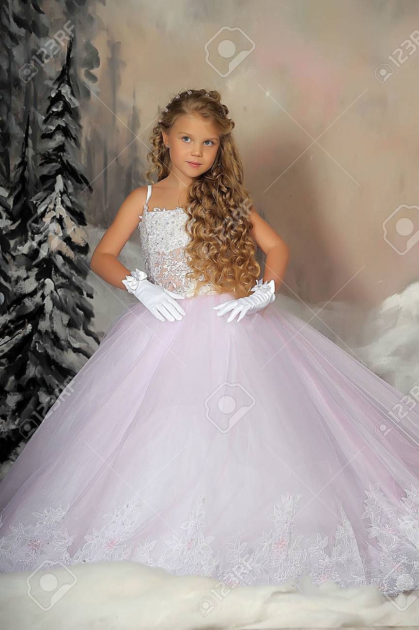 Little Princess In White Dress Stock Photo, Picture And Royalty Free ...