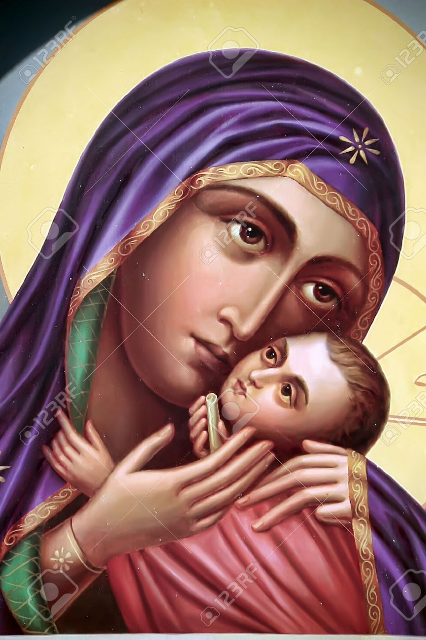 the icon a mother of god mary and child jesus christ on