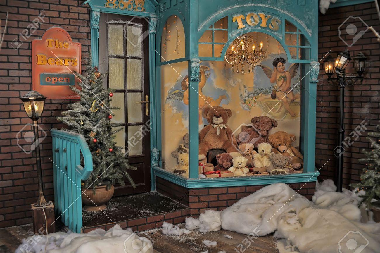 Vintage Toy Store On Christmas Stock Photo