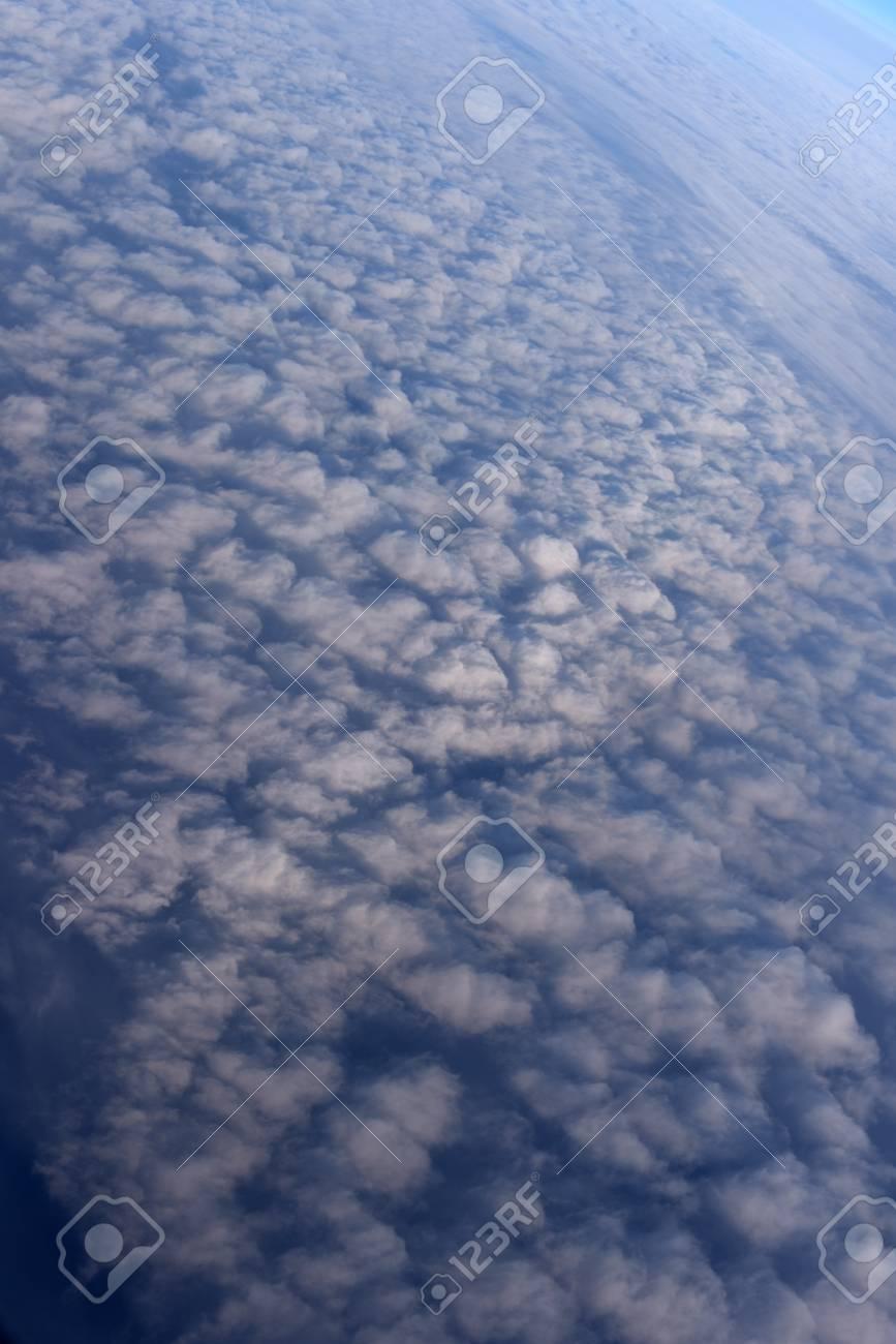 Blauer Himmel Hintergrund Blick Aus Dem Flugzeug Bis über Die Wolken