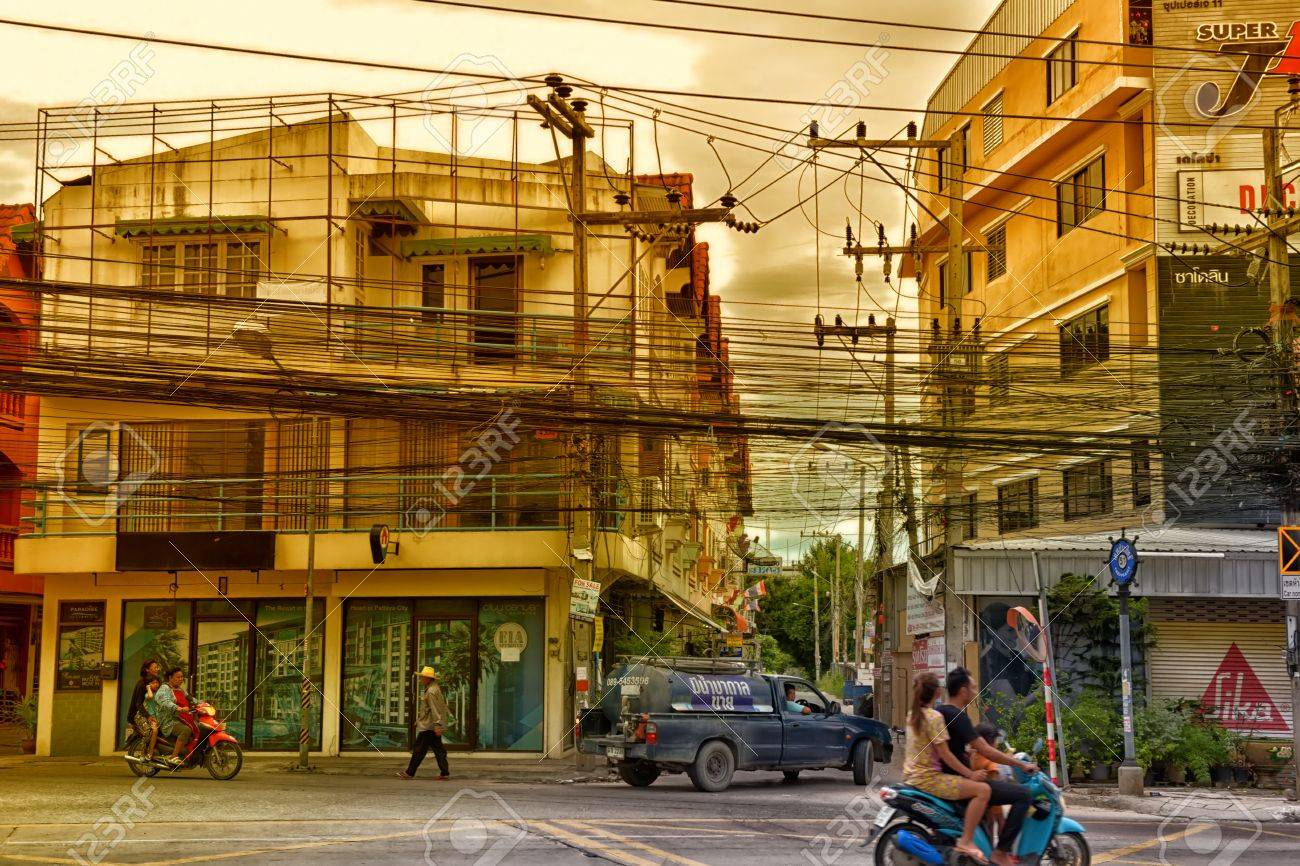 Stock Photo - Thailand, Pattaya, 25,06,2017 Streets of Pattaya with a huge  number of electrical wires