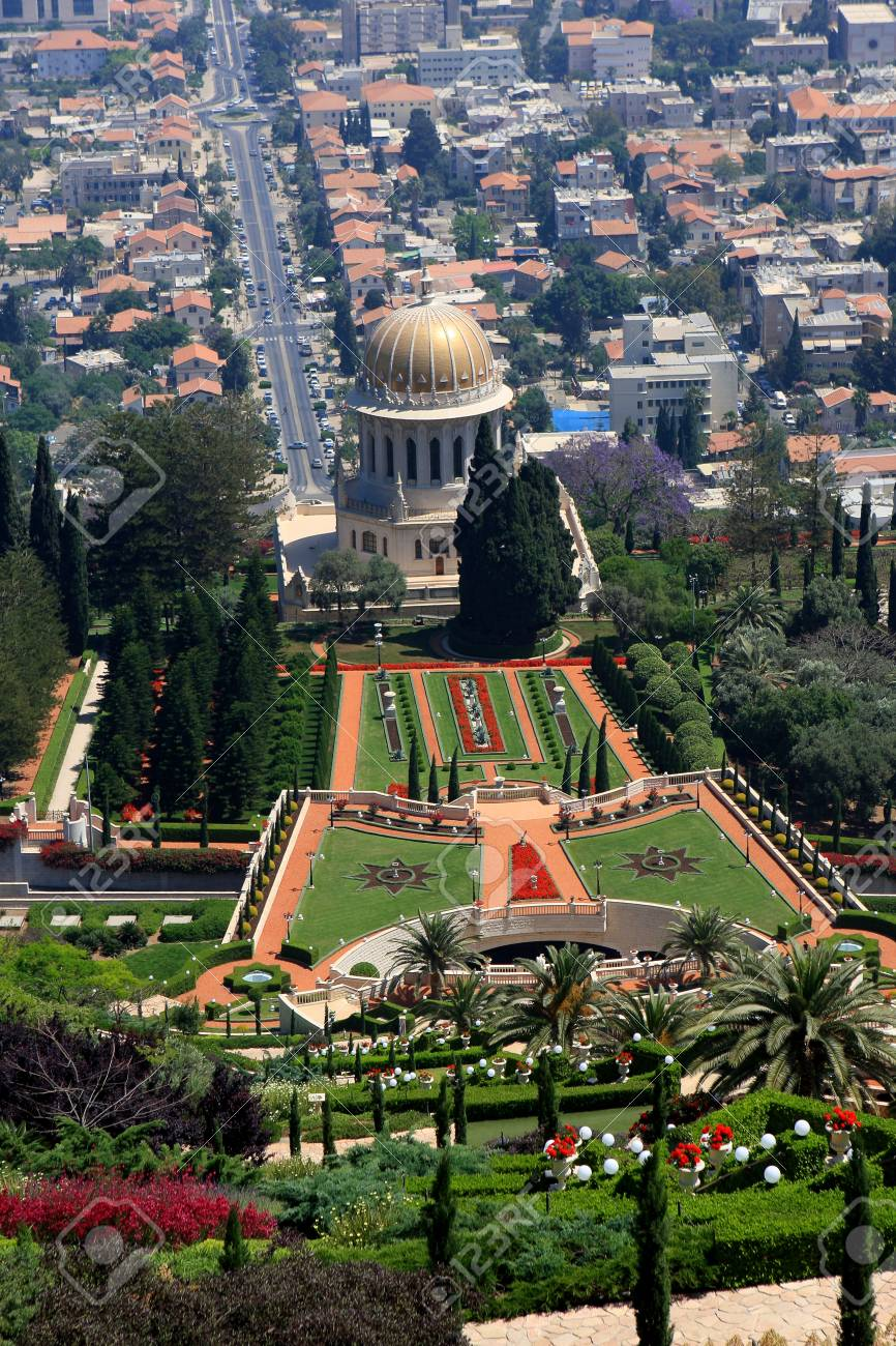 Haifa, Israel - 12 May, 2012: View of Bahai gardens and the Shrine of the Bab on mount Carmel Stock Photo - 14756768