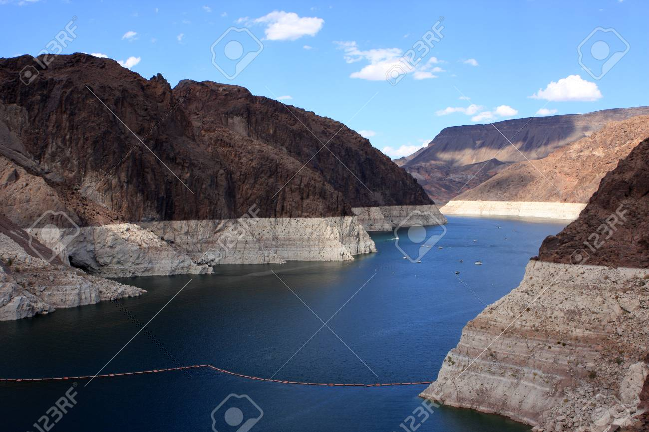 View of Hoover Dam, concrete arch-gravity dam in the Black Canyon