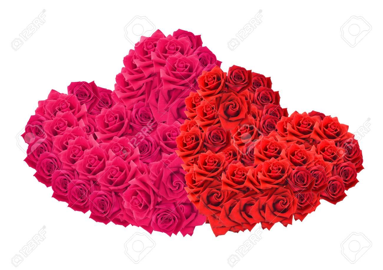 bouquet de roses rouges isolé sur fond blanc en forme de coeur