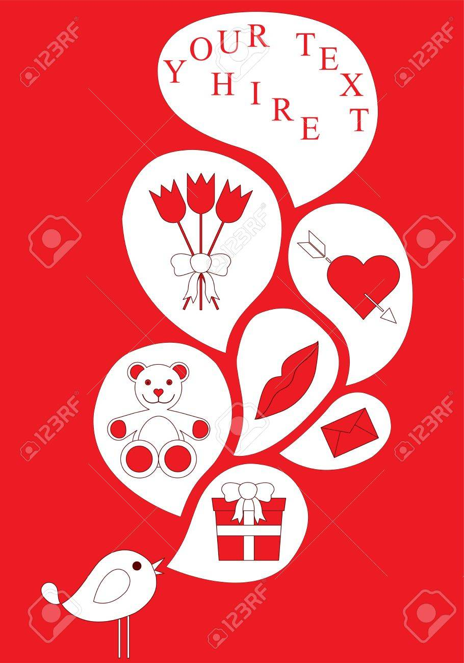 singing bird, love icons, envelope, mouth, nose, gift, mascot, heart Stock Vector - 12128417