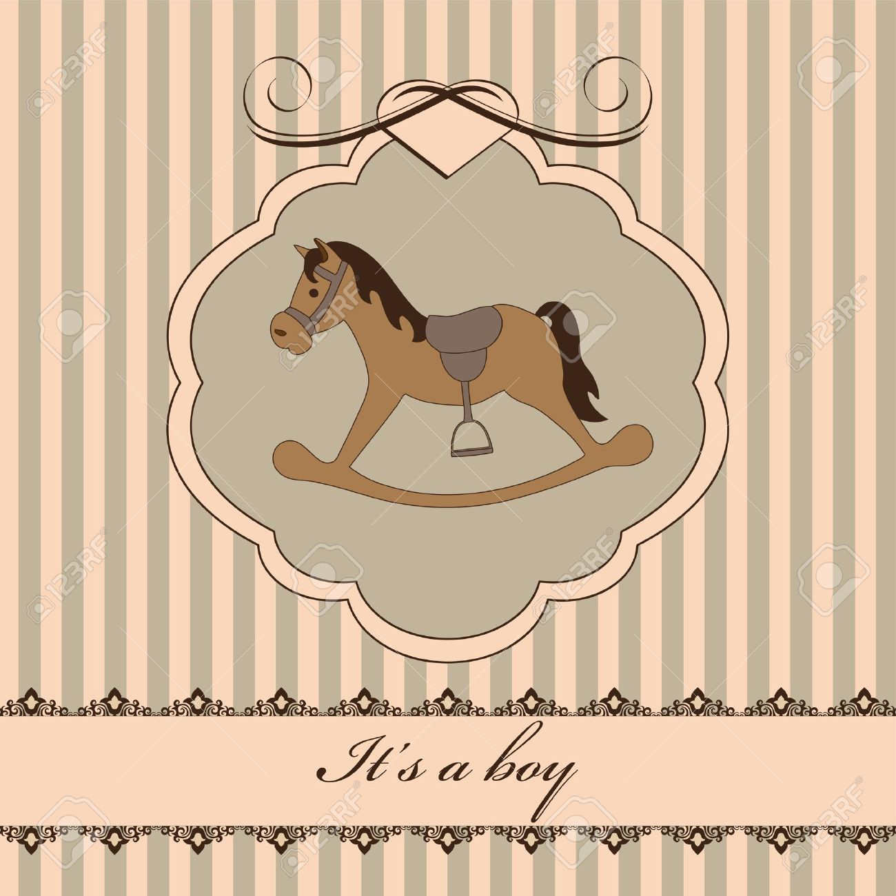 Vintage Baby Boy Arrival Announcement Card Royalty Free Cliparts – Vintage Birth Announcement