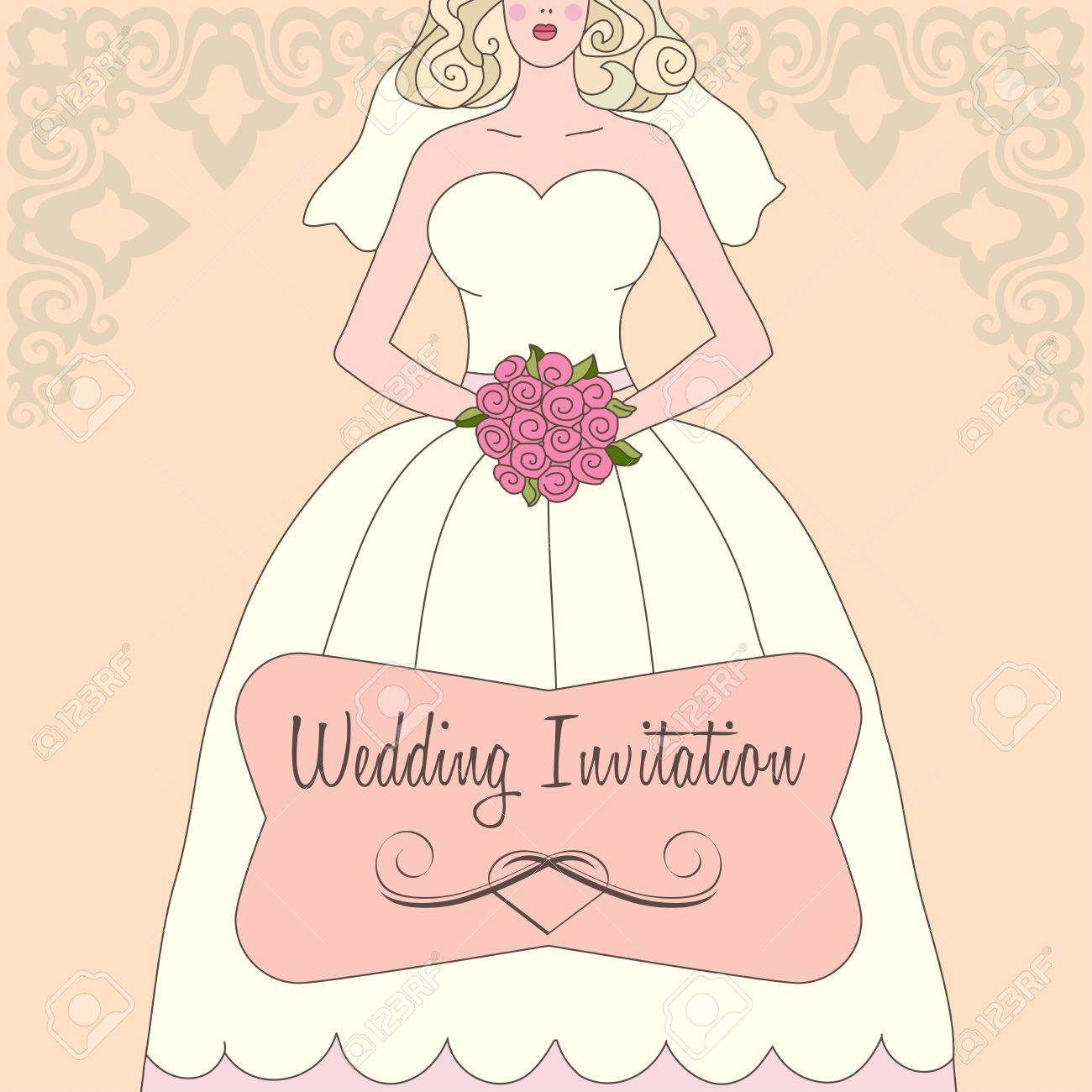 Wedding invitation with white dress and flowers Stock Vector - 12433460
