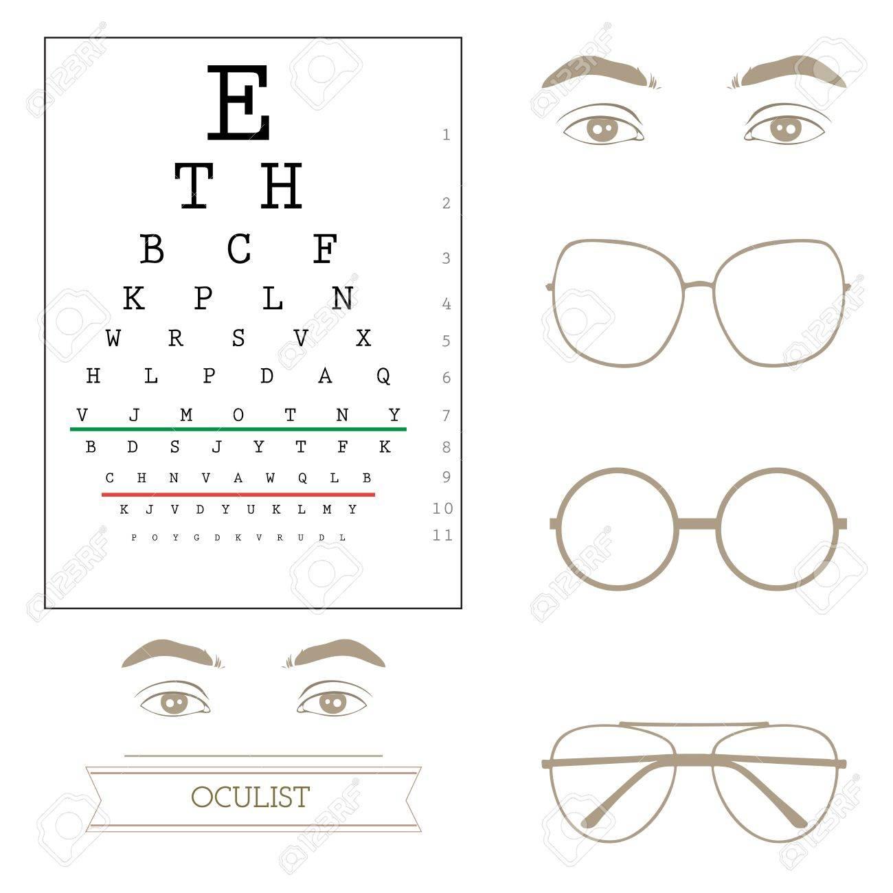 Eyesight test chart, eyeglasses Stock Vector - 21772947