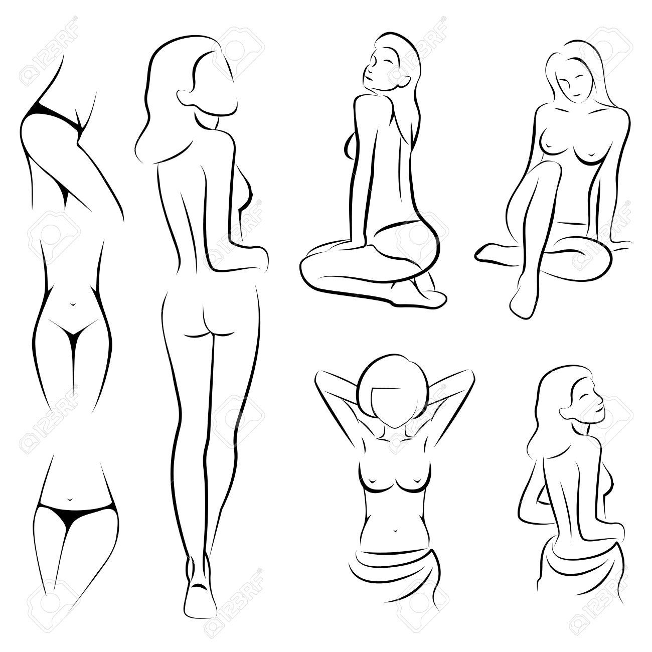 Female Sexy Intime Beauty Body Outline Parts Royalty Free