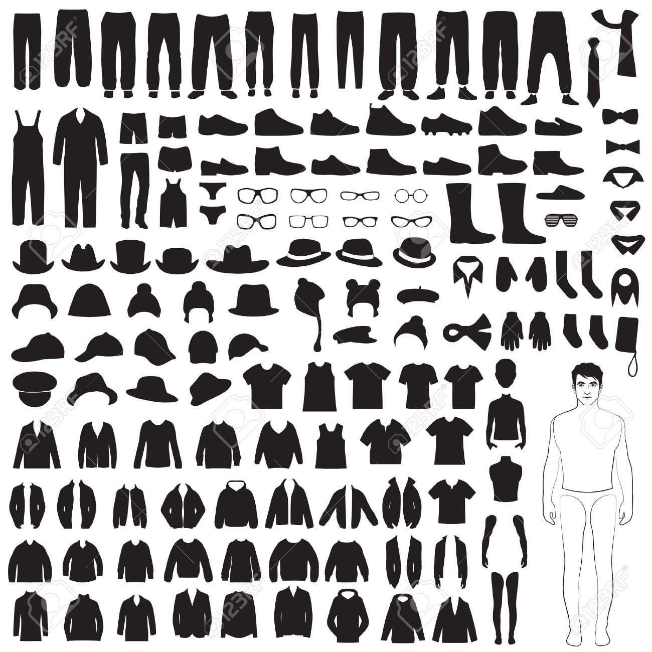man fashion icons, paper doll, isolated clothing silhouette - 29426459