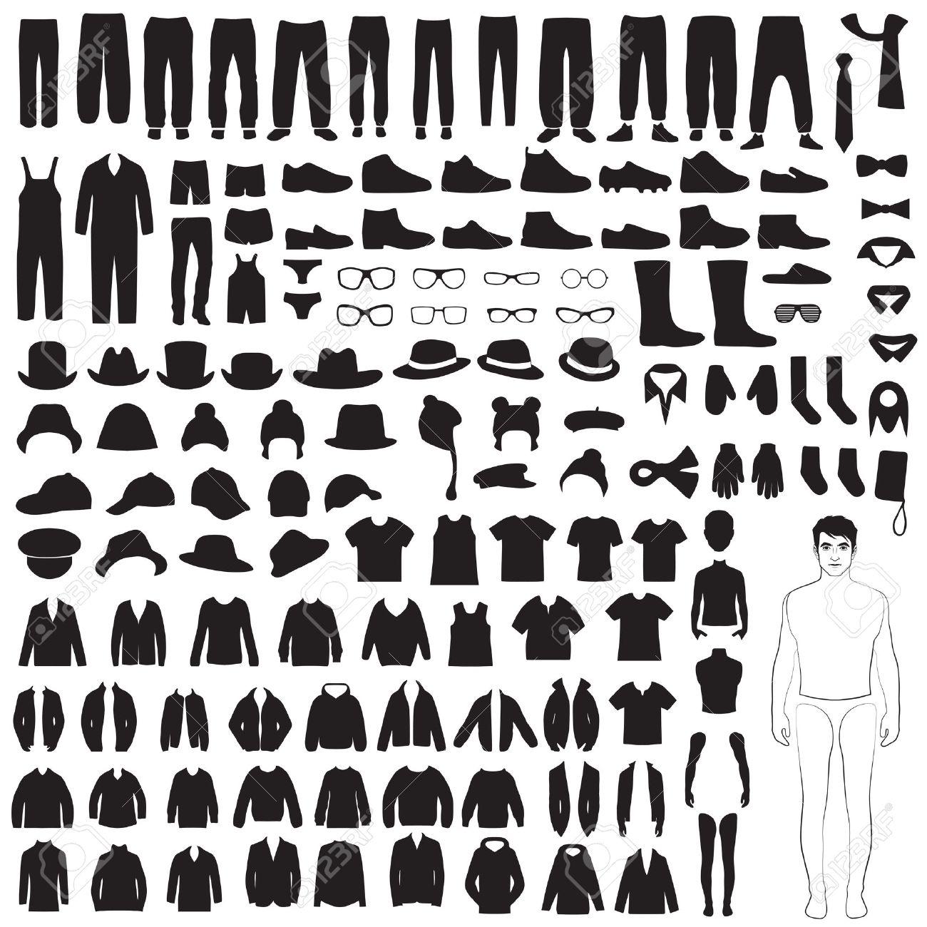 男性ファッションのアイコン、紙人形、孤立した服のシルエット 写真素材 ,