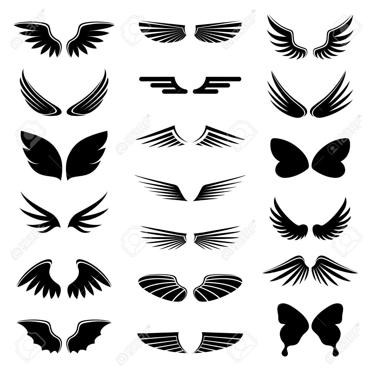 ベクトルはアイコン シルエット イラスト翼天使と鳥を設定のイラスト