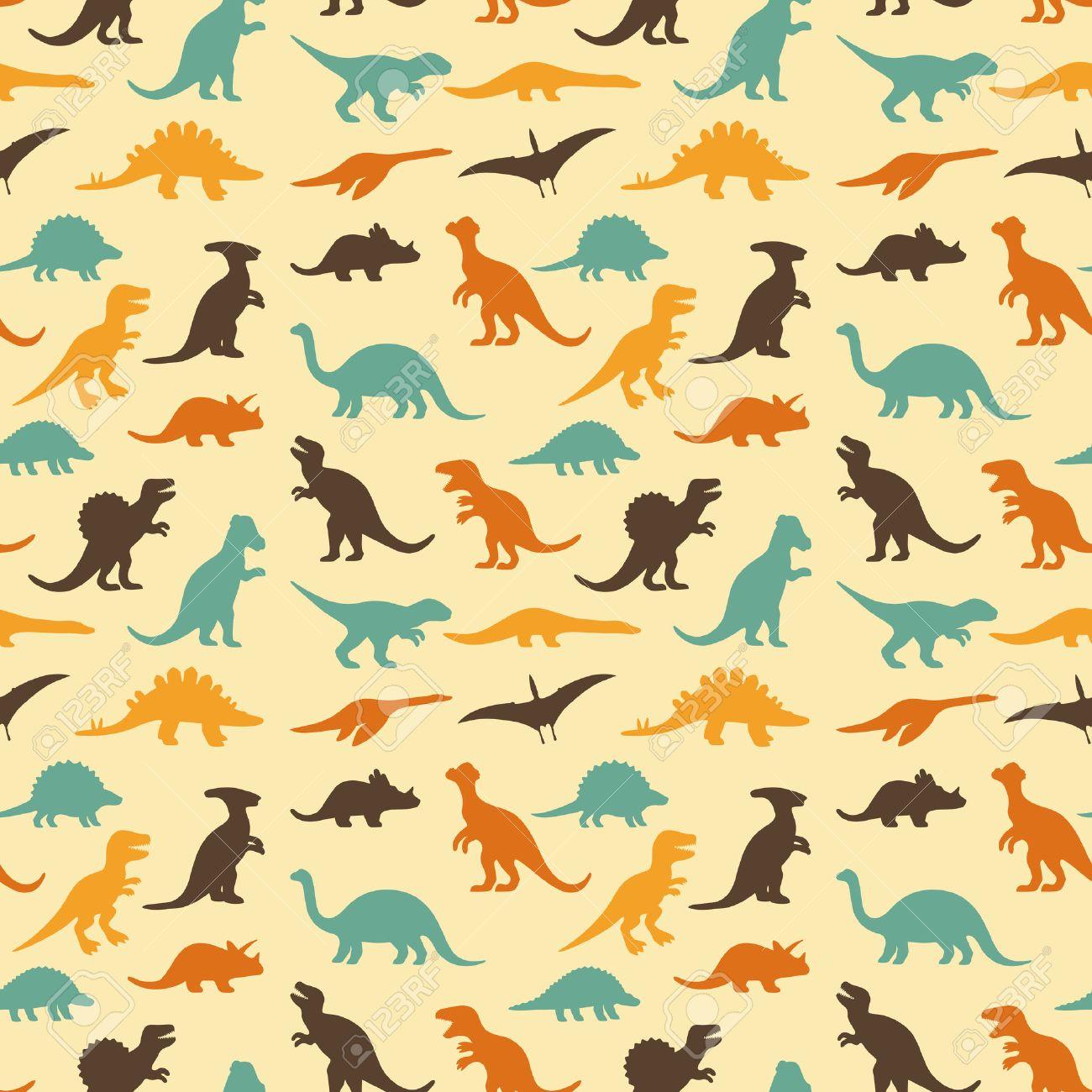 シルエット恐竜、動物のイラスト、レトロ パターン背景のベクトルを設定 写真素材