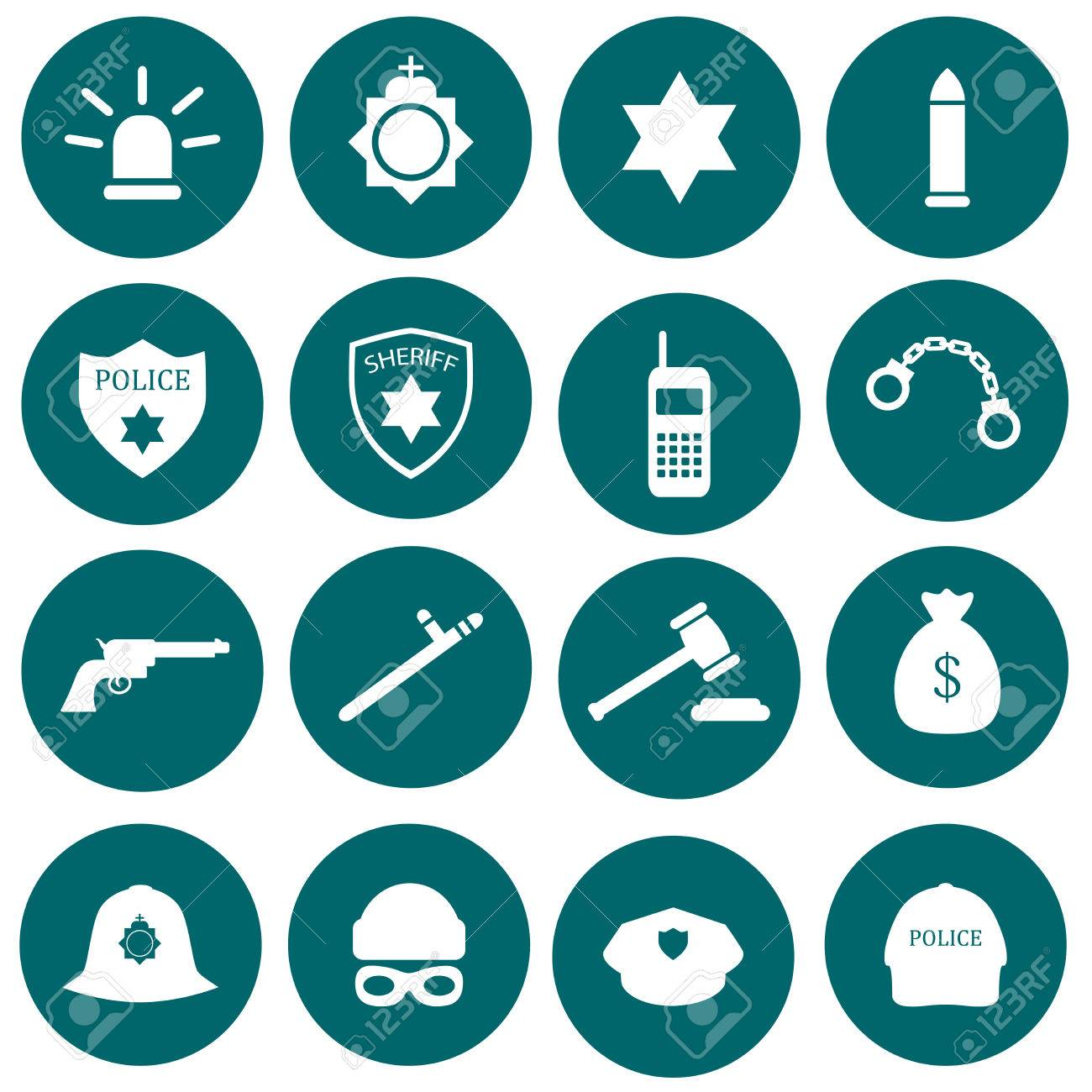 vector security icon police law crime badge set illustration