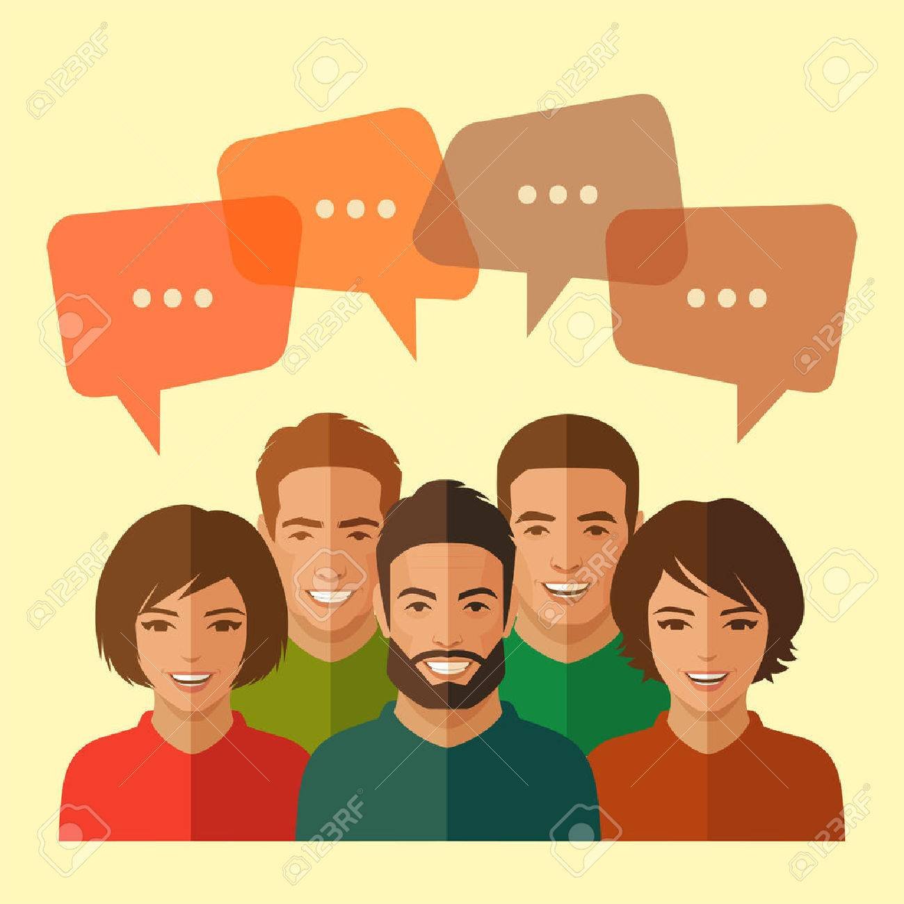 smile people group, business team, chat dialogue - 50465435