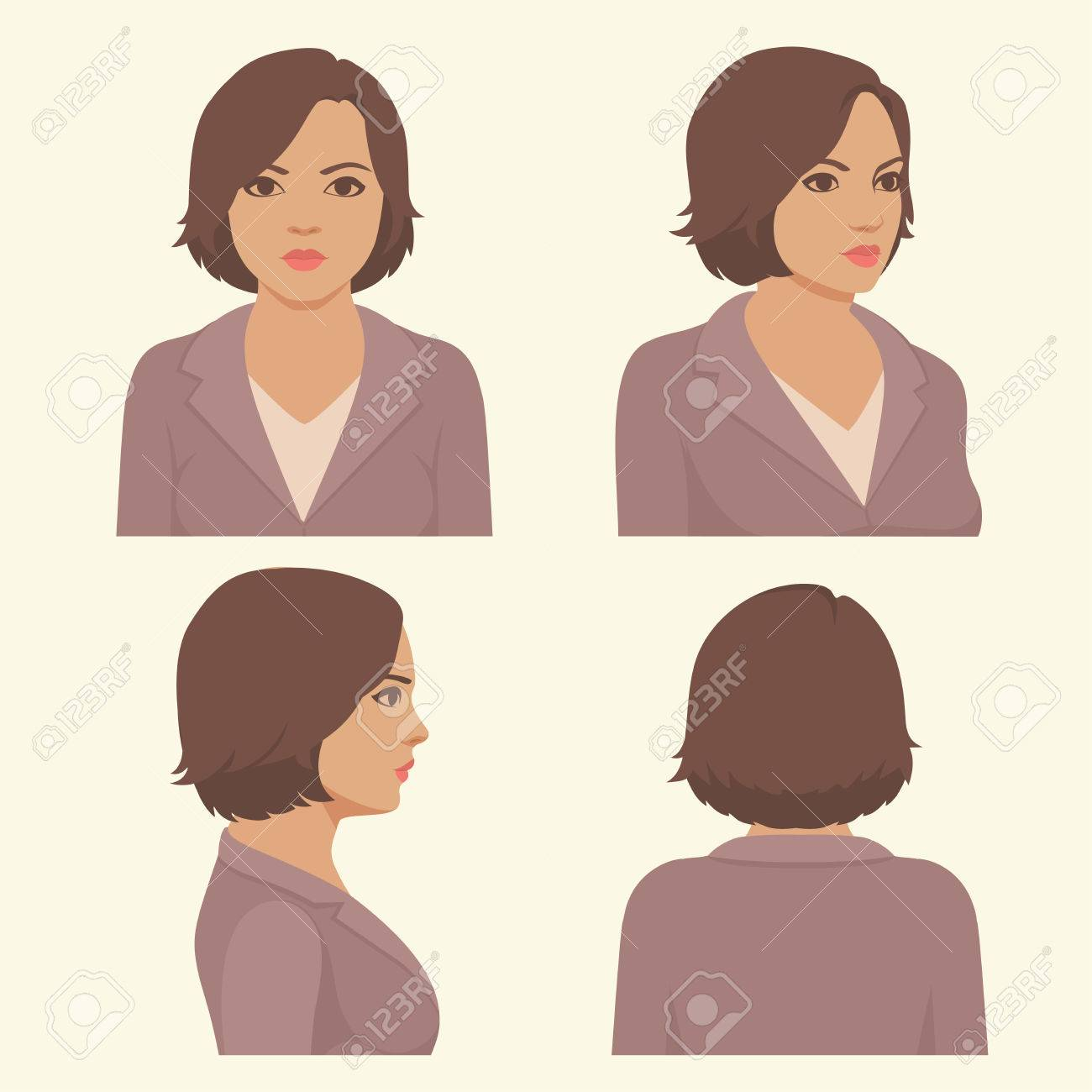vector girl hairstyles full face and profile head character royalty