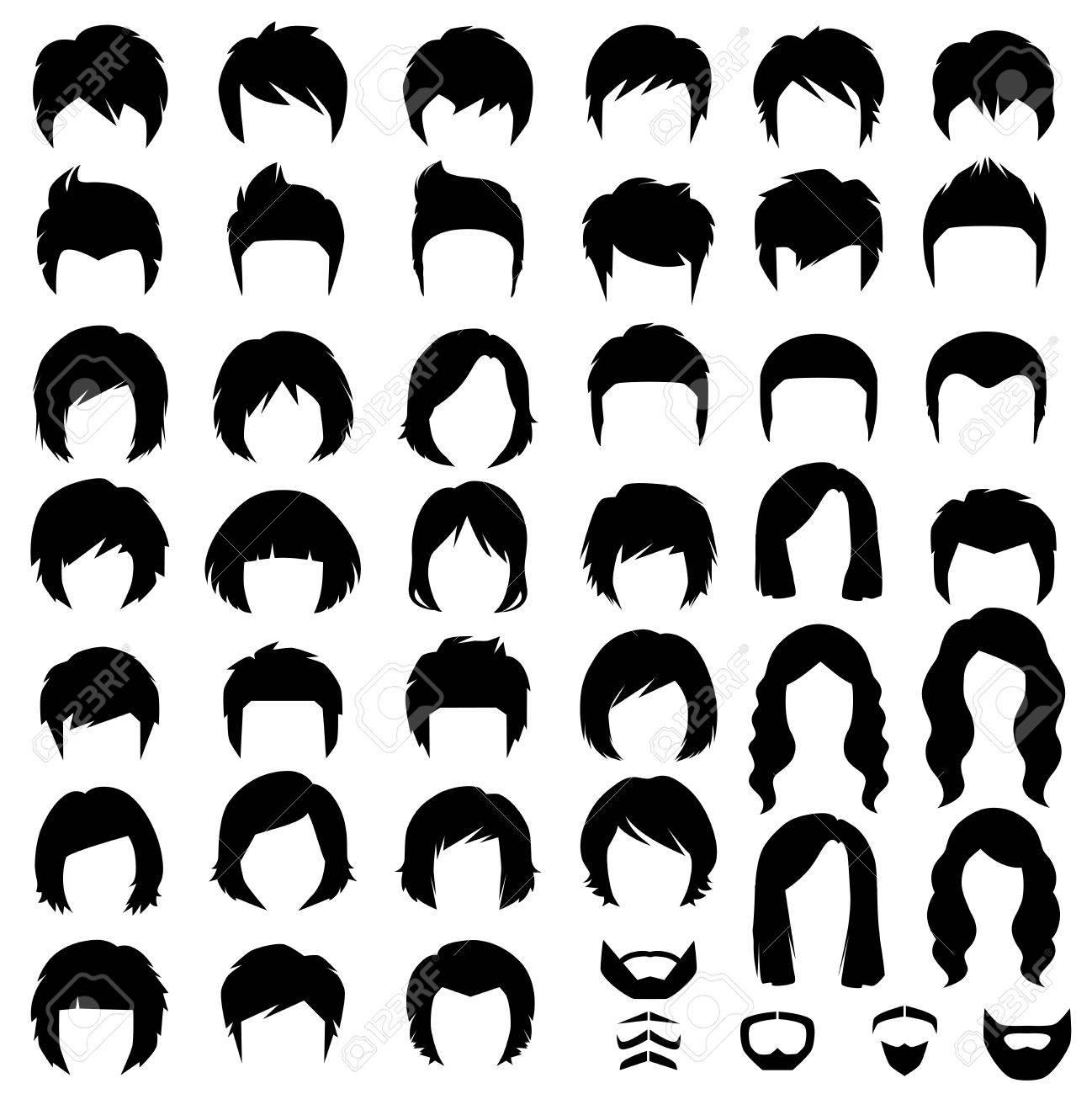 女と男の髪、ヘアスタイルのベクター シルエット