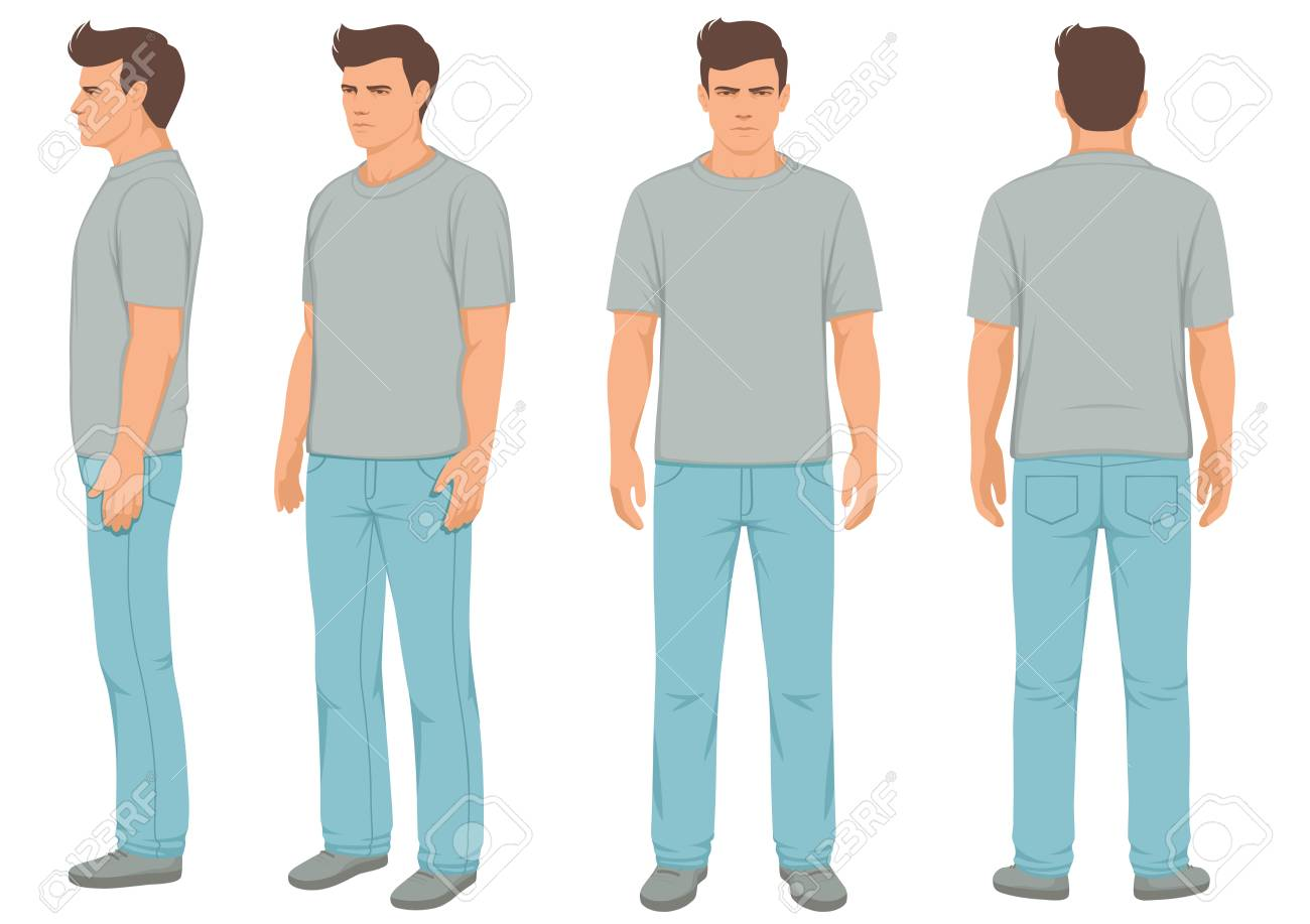 Fashion man isolated, front, back and side view, vector illustration - 96441672