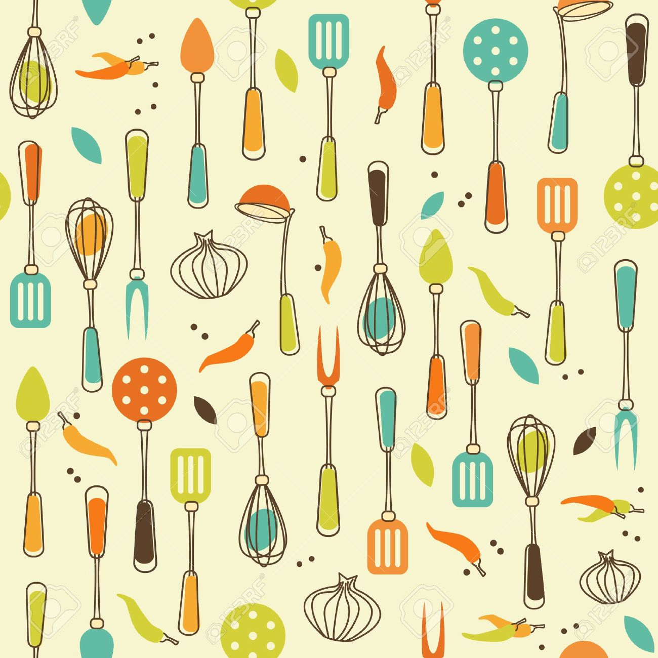 Seamless Pattern Of Kitchen Utensil In Retro Styled Royalty Free
