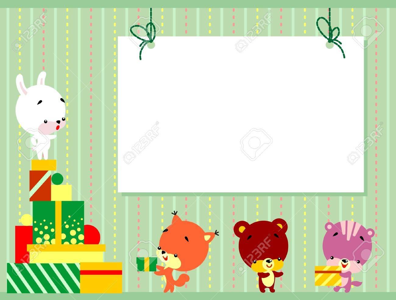 Ilustración De Lindos Animalitos De Dibujos Animados Con Las Cajas