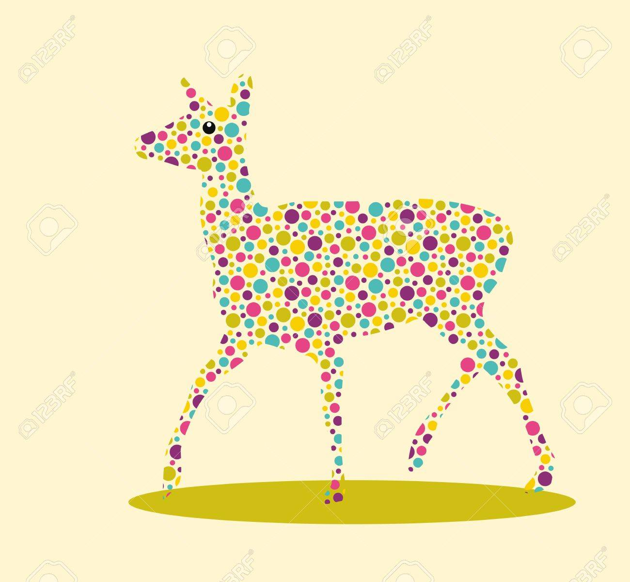 Silhouette of deer with colourful spotted pattern Stock Vector - 20169843